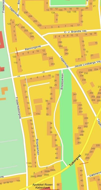 Kort over Bispeparken, København NV