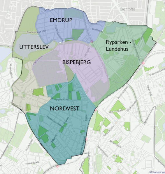 Bispebjerg bydel - kvarterer (kort)